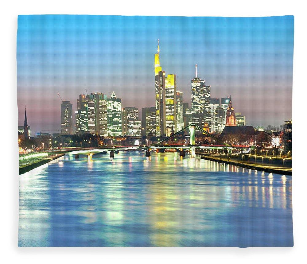 Hesse Fleece Blanket featuring the photograph Frankfurt Night Skyline by Ixefra