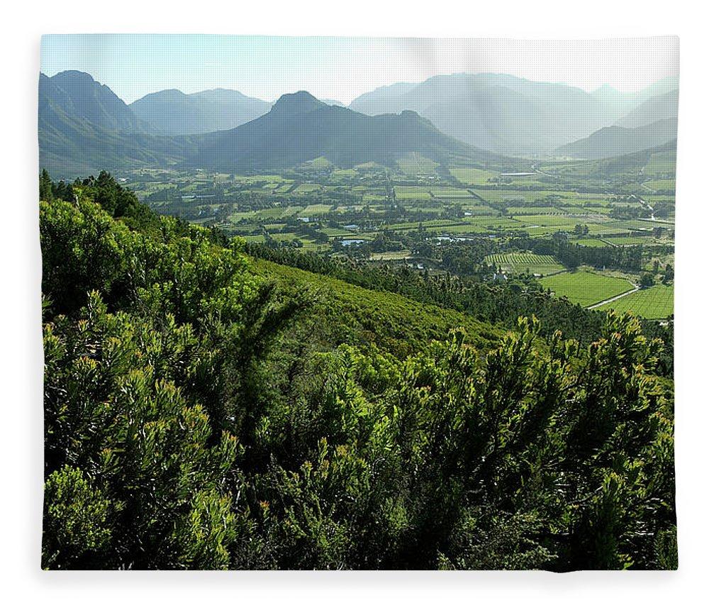 South Africa Fleece Blanket featuring the photograph Franschhoek Valley by Ruvanboshoff