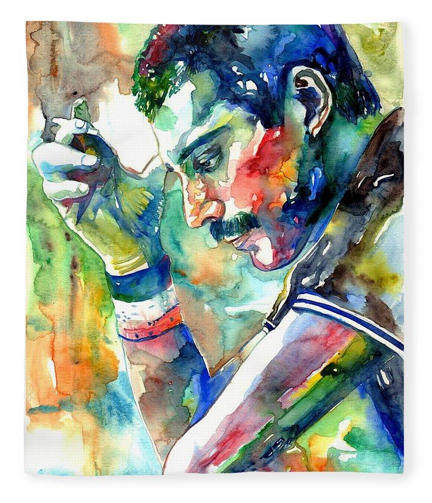 Freddie Mercury Fleece Blanket featuring the painting Freddie Mercury With Cigarette by Suzann Sines