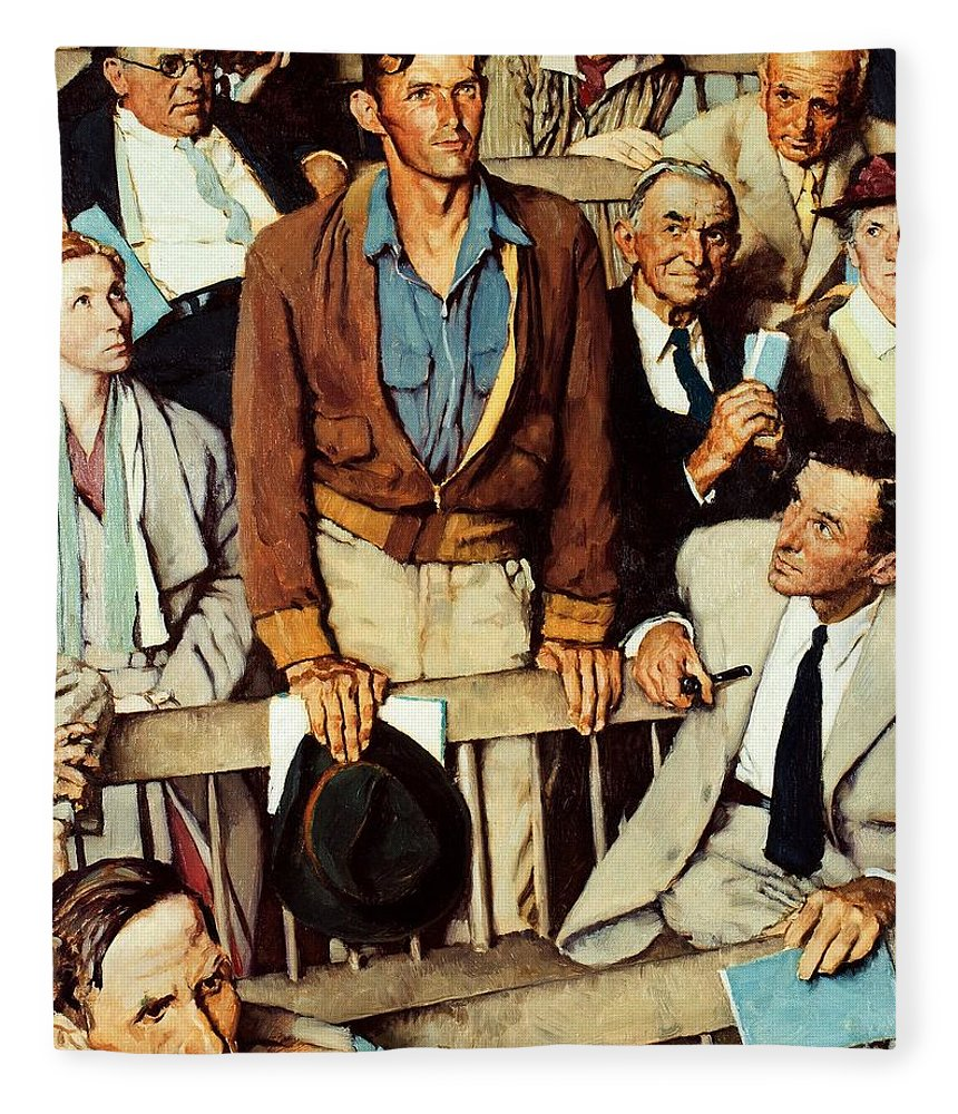 Man Standing Fleece Blanket featuring the drawing Freedom Of Speech by Norman Rockwell