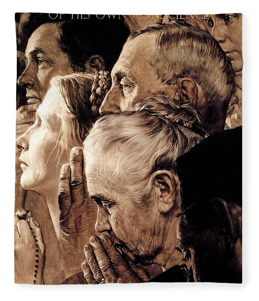 Praying Fleece Blanket featuring the drawing Freedom Of Worship by Norman Rockwell
