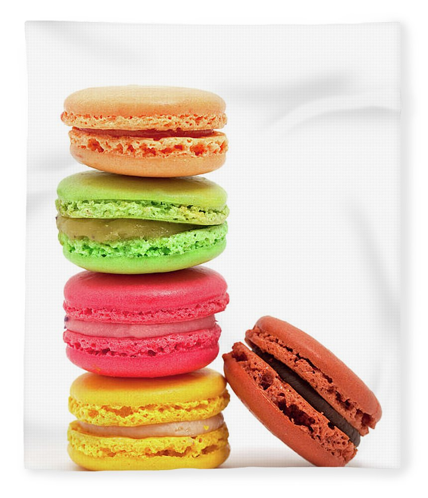 White Background Fleece Blanket featuring the photograph French Macaroons by Ursula Alter