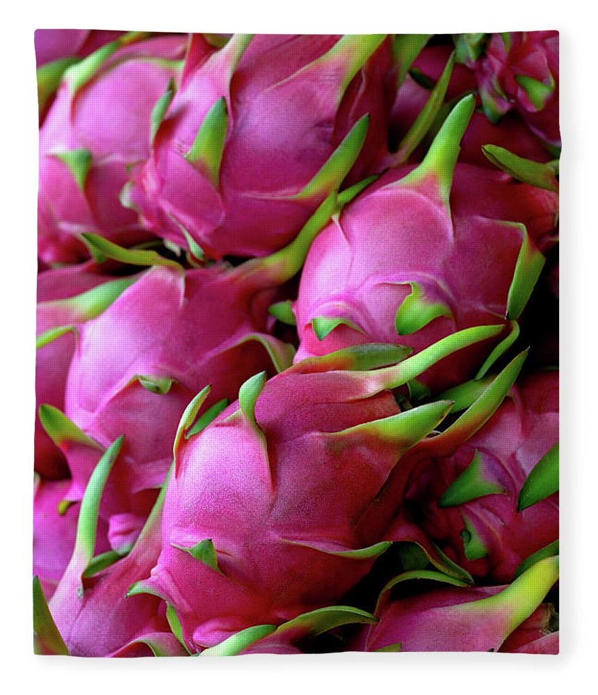 Thailand Fleece Blanket featuring the photograph Fresh Dragon Fruit For Sale In A Thai by Enviromantic