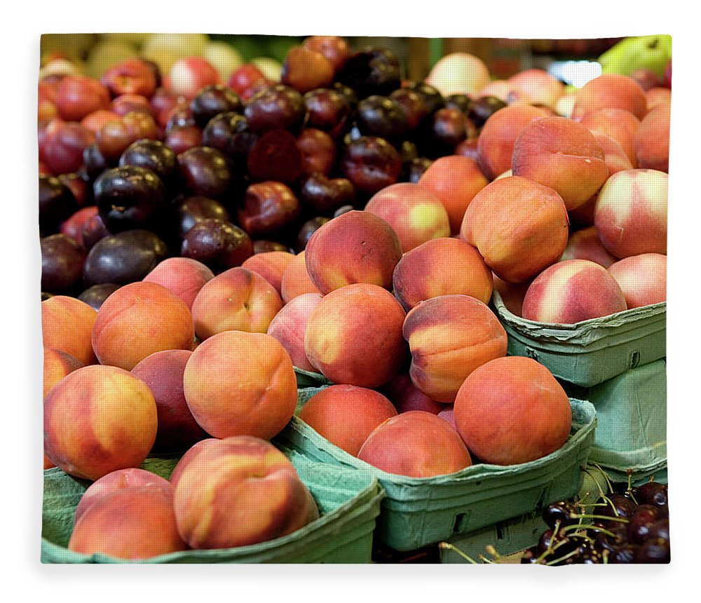 Cherry Fleece Blanket featuring the photograph Fresh Peaches At Organic Market by Lillisphotography
