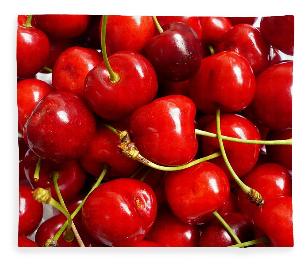 Cherry Fleece Blanket featuring the photograph Fresh Red Cherries by Vienna Mornings