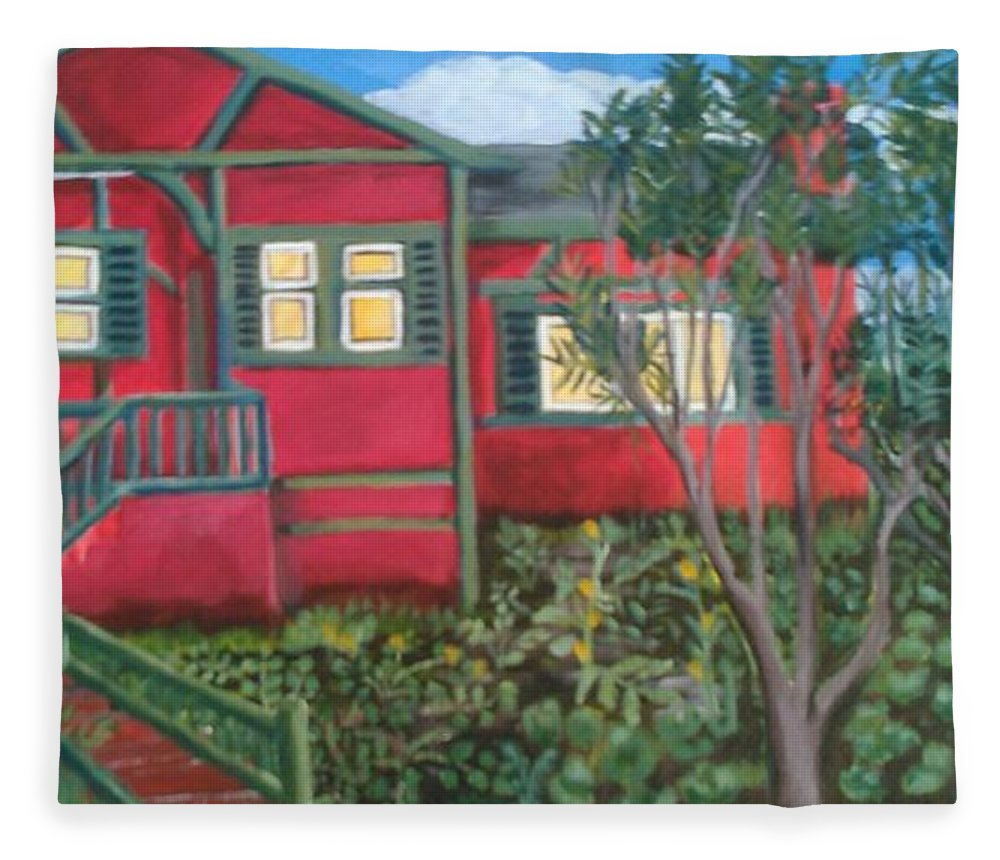 Painting Of House Fleece Blanket featuring the painting Fresh yard by Andrew Johnson
