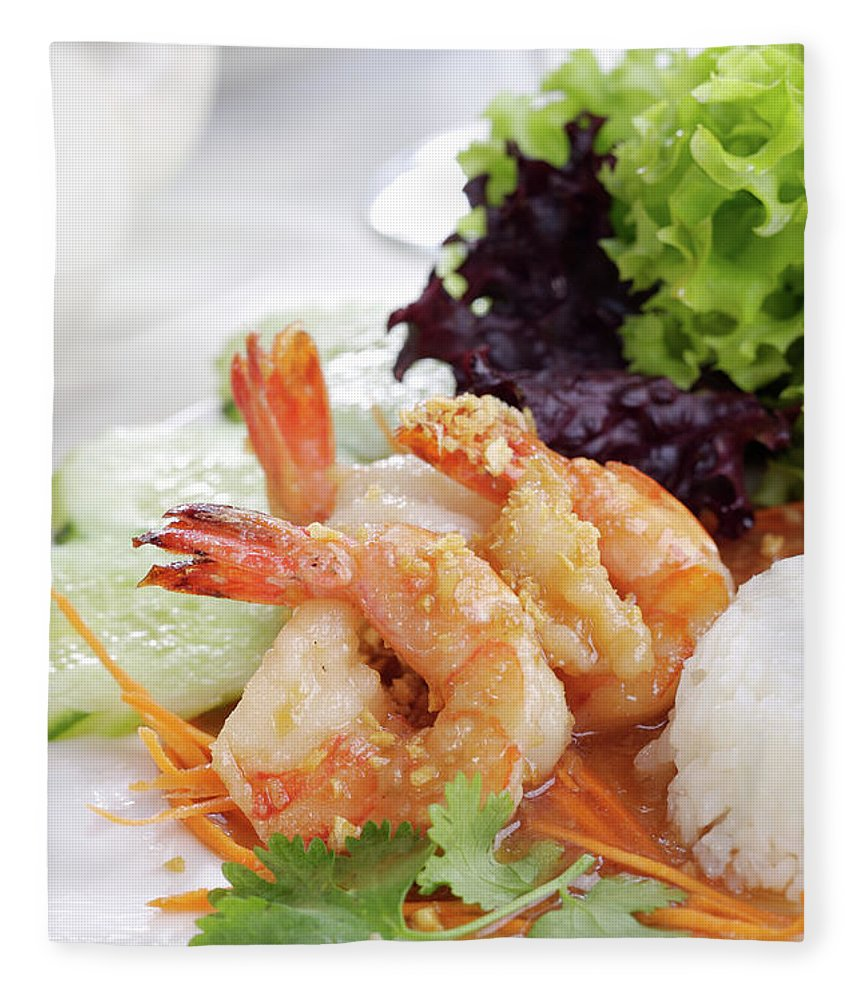 Thai Food Fleece Blanket featuring the photograph Fried Shrimps With Garlic by Shyman