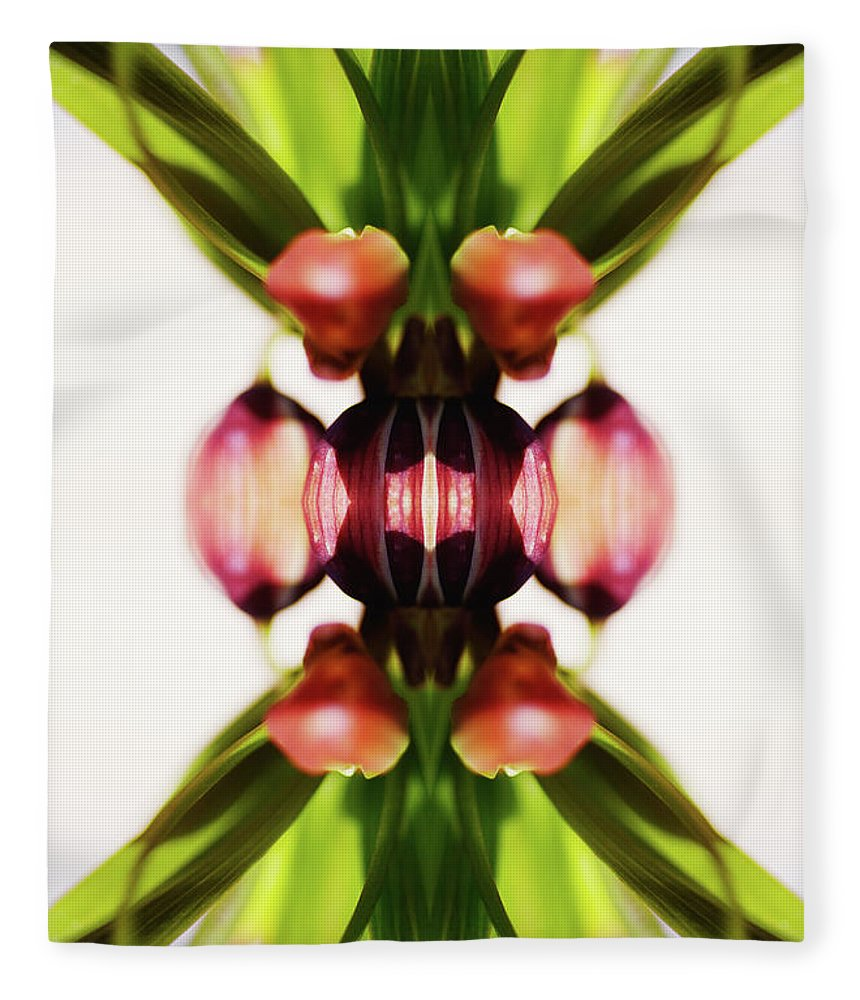 Bud Fleece Blanket featuring the photograph Fritillaria Flower by Silvia Otte