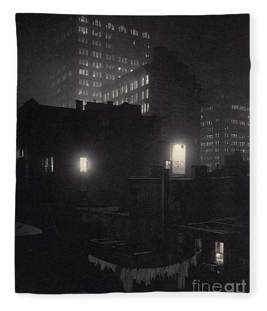 Evening Fleece Blanket featuring the photograph From The Back Window, 291 Ny Winter by Alfred Stieglitz