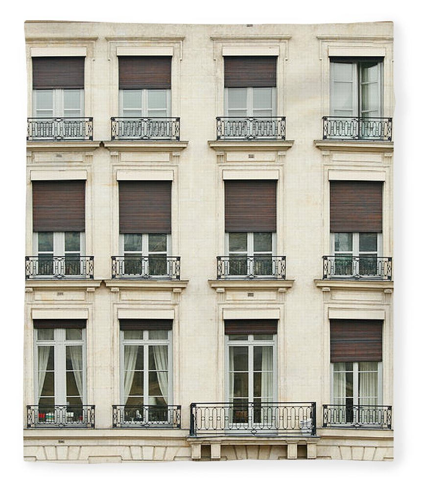 Apartment Fleece Blanket featuring the photograph Front View Of Paris Architecture by S. Greg Panosian