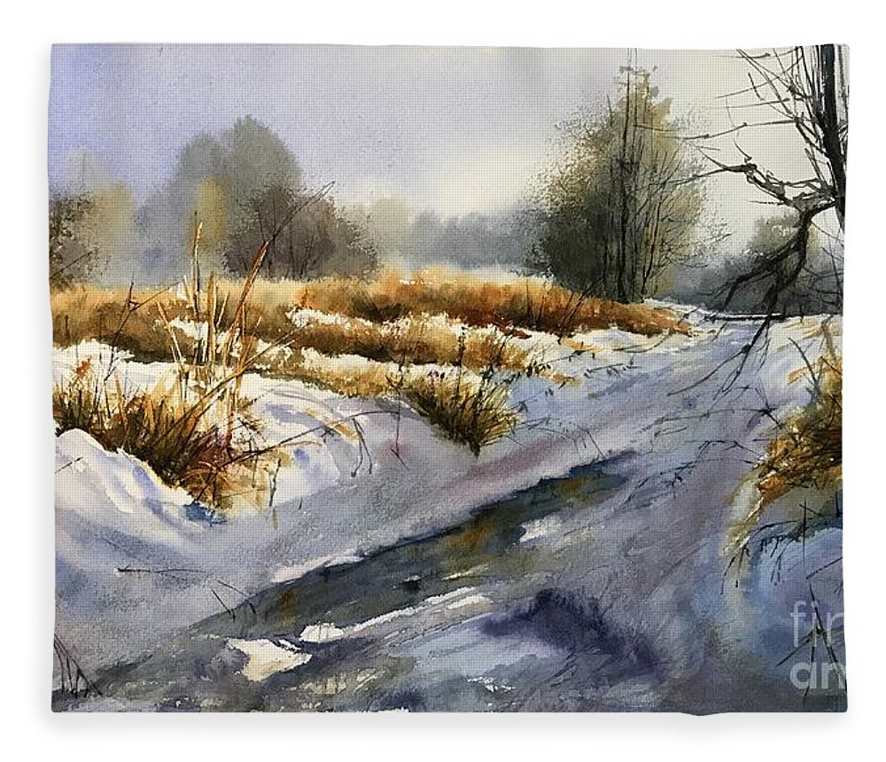 Winter Fleece Blanket featuring the painting Frozen Brook by Suzann Sines