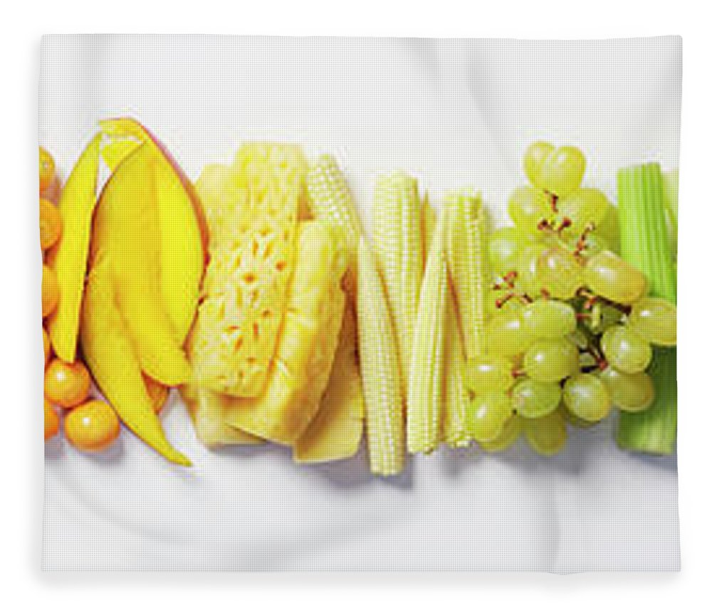 Cherry Fleece Blanket featuring the photograph Fruit & Vegetable Color Wheel by David Malan