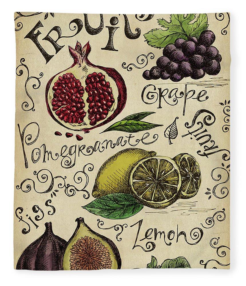 Doodle Fleece Blanket featuring the digital art Fruits by Kalistratova