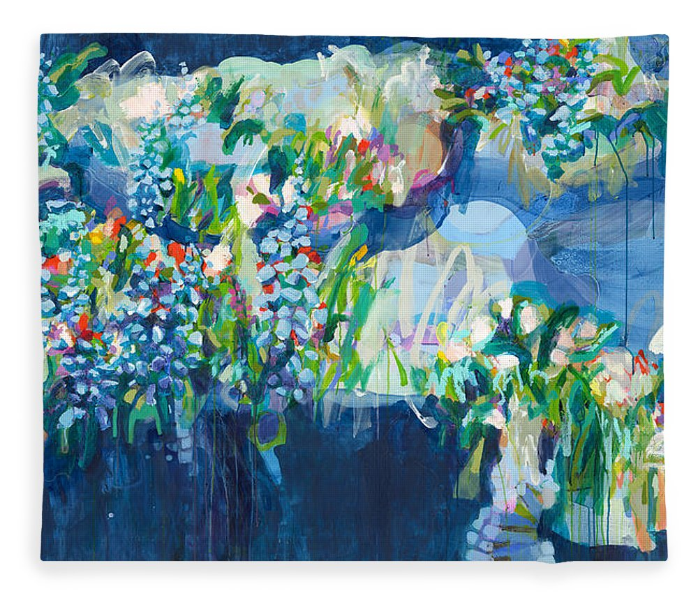 Abstract Fleece Blanket featuring the painting Full Bloom by Claire Desjardins