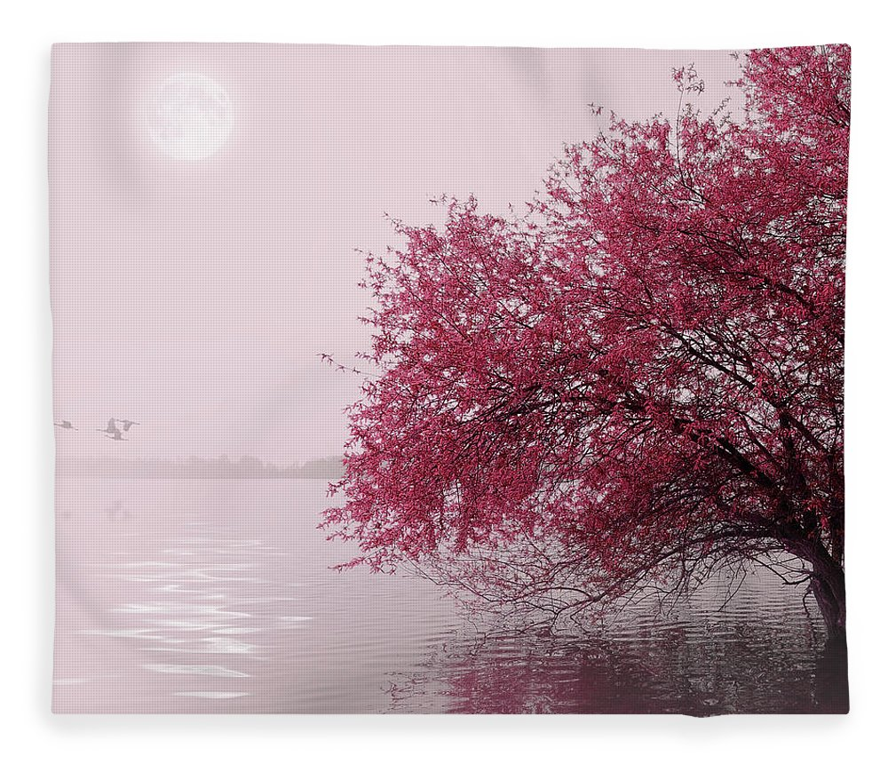Outdoors Fleece Blanket featuring the photograph Full Moon On The Lake by Philippe Sainte-laudy Photography