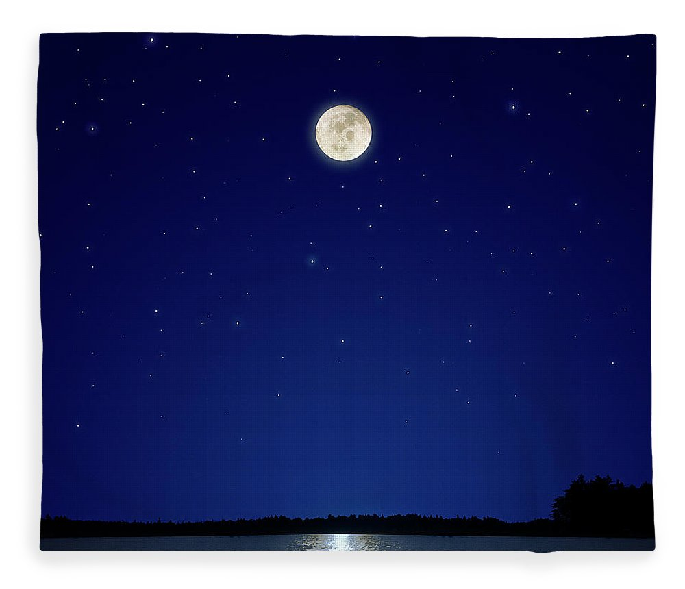 Constellation Fleece Blanket featuring the photograph Full Moon Over New Hampshire by Soubrette