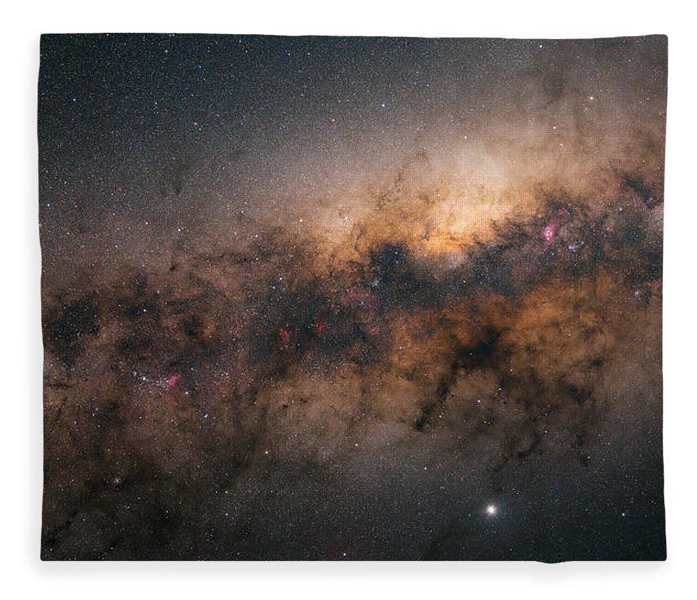 Stars Fleece Blanket featuring the photograph Galactic Core by Bartosz Wojczynski