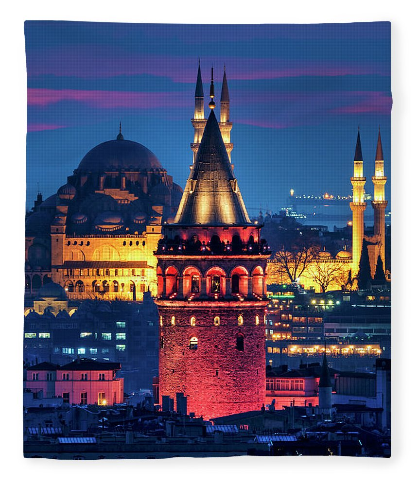 Galata Fleece Blanket featuring the photograph Galata Tower And Suleymaniye Mosque by Fabrizio Troiani