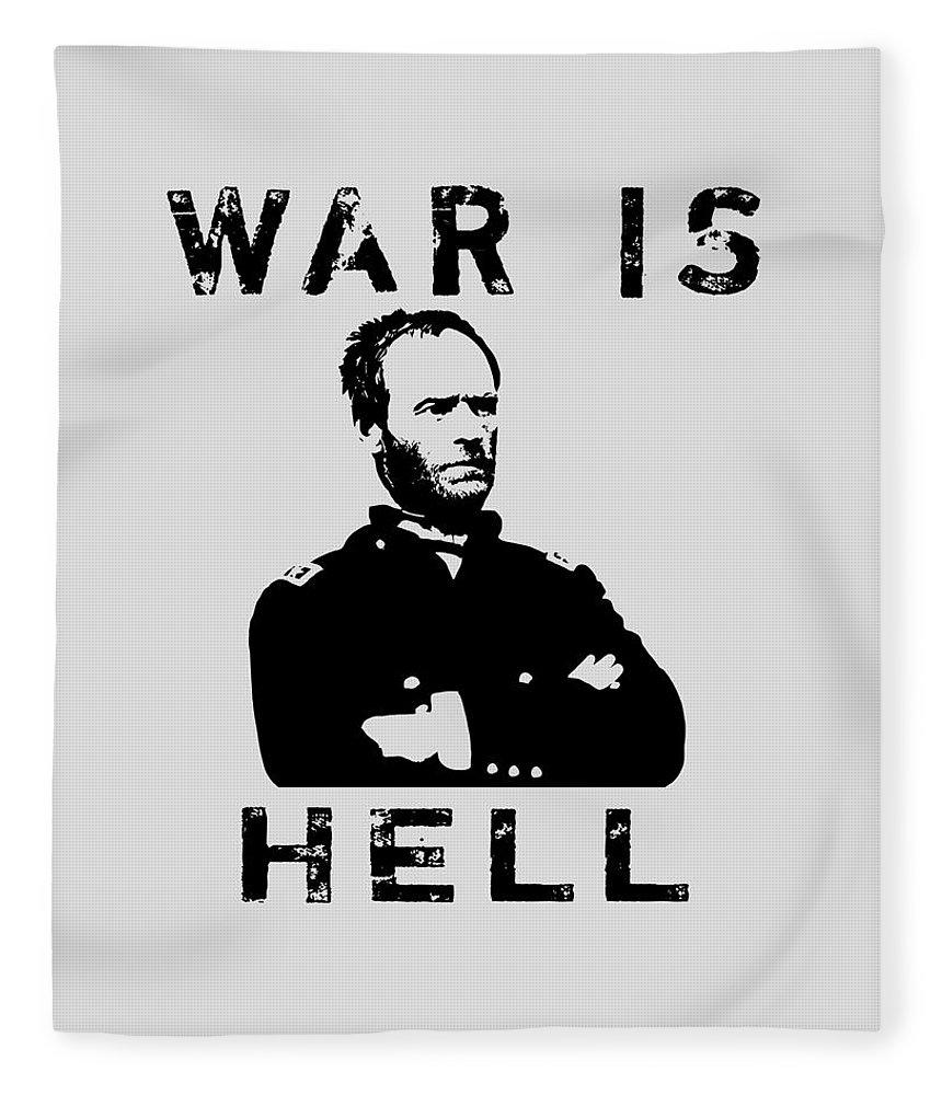 General Sherman Fleece Blanket featuring the digital art General Sherman Graphic - War Is Hell by War Is Hell Store