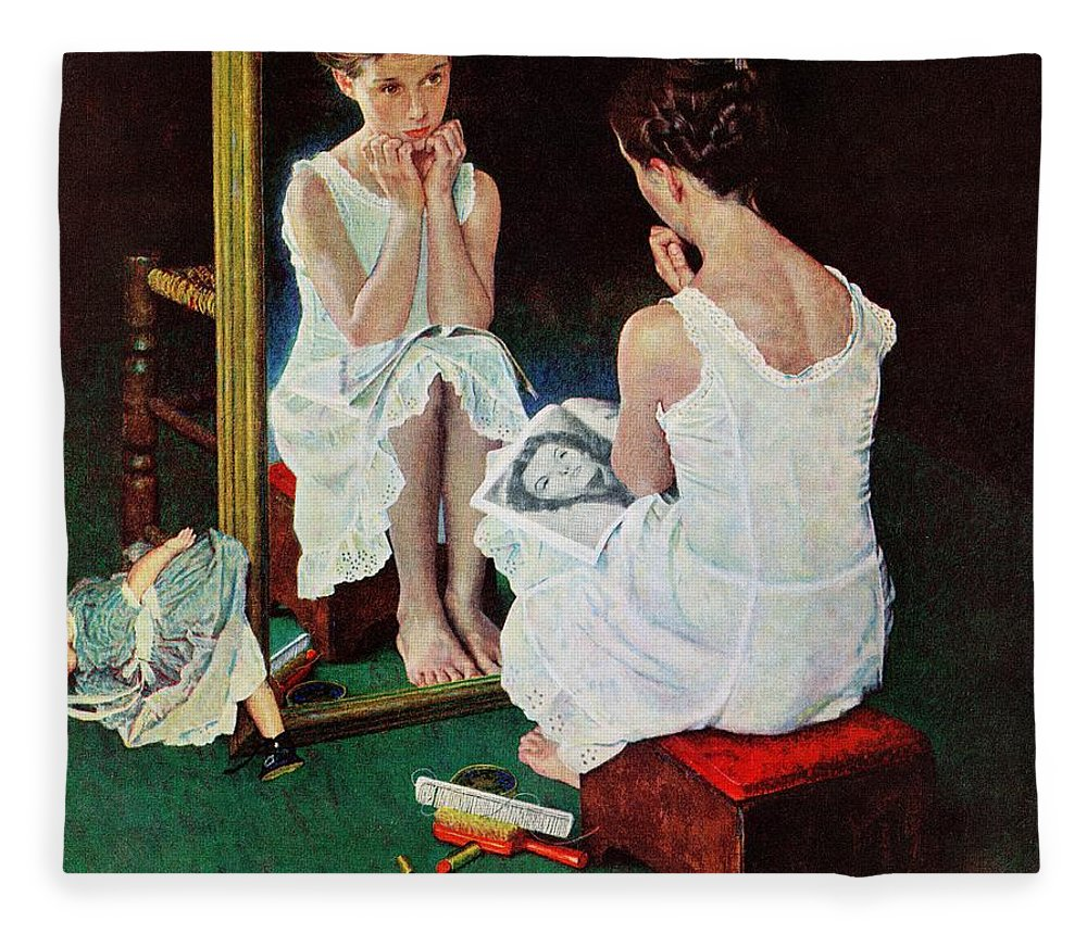 Actresses Fleece Blanket featuring the drawing Girl At The Mirror by Norman Rockwell