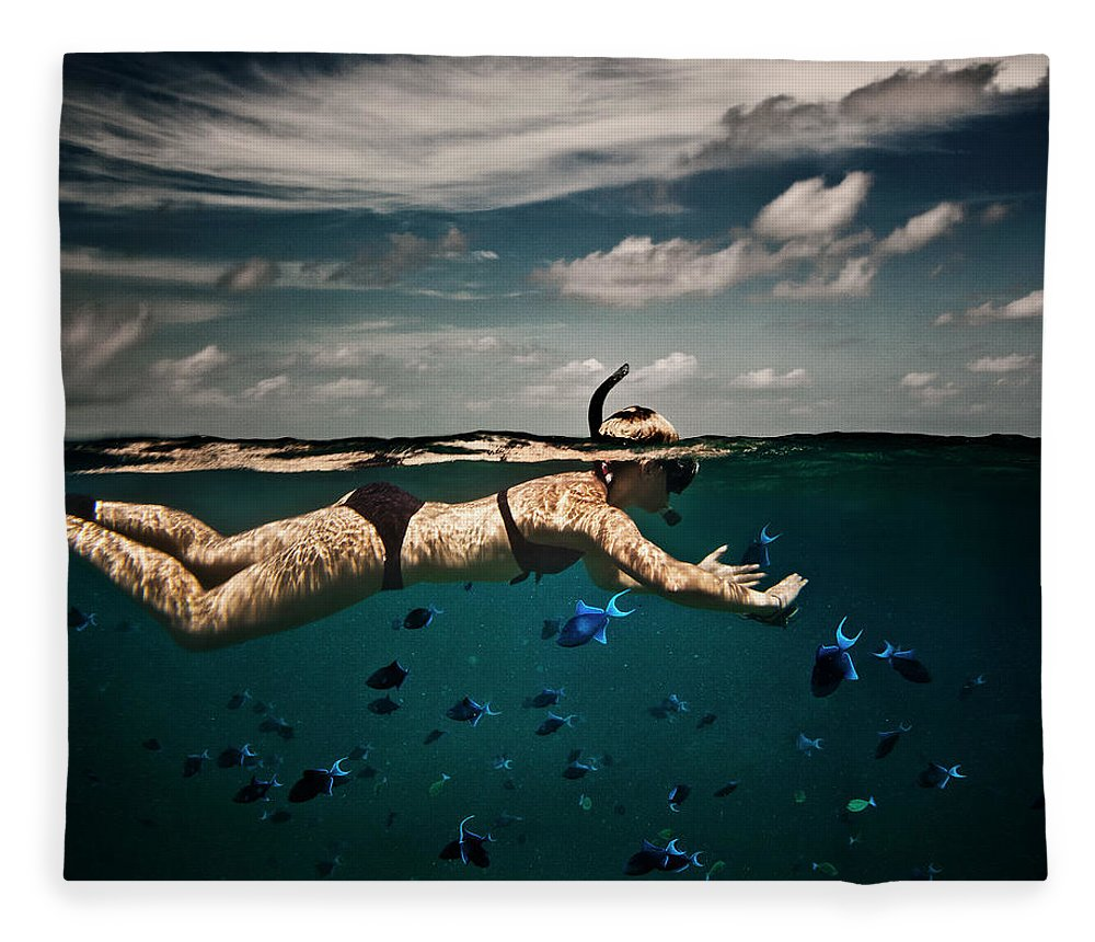 People Fleece Blanket featuring the photograph Girl Snorkelling In Indian Ocean by Rjw