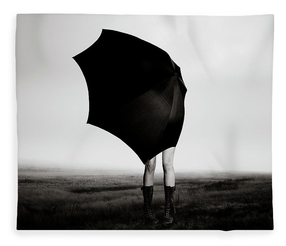 Child Fleece Blanket featuring the photograph Girl With Umbrella by Eddie O'bryan