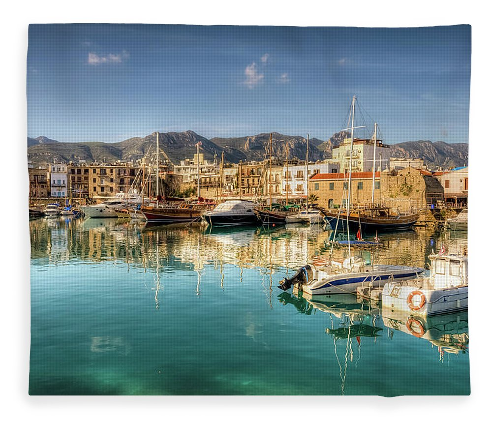 Tranquility Fleece Blanket featuring the photograph Girne Kyrenia , North Cyprus by Nejdetduzen