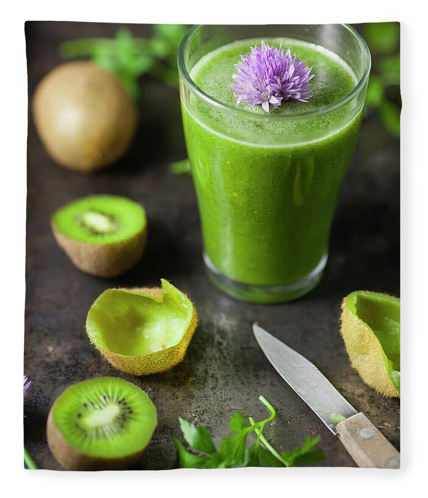 Cutting Board Fleece Blanket featuring the photograph Glass Of Smoothie With Kiwi, Parsley by Westend61