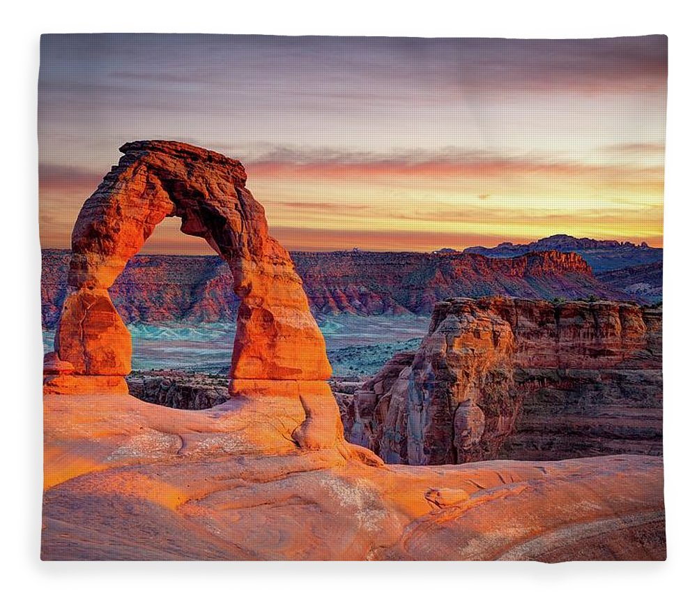 Scenics Fleece Blanket featuring the photograph Glowing Arch by Mark Brodkin Photography