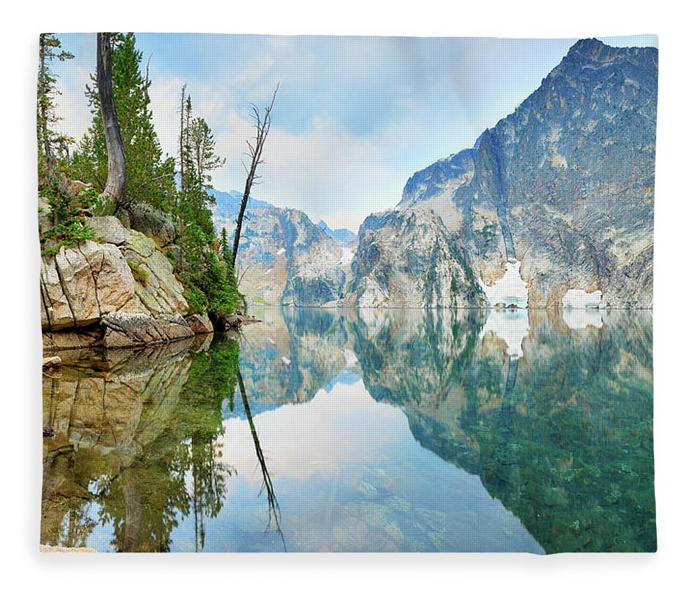 Tranquility Fleece Blanket featuring the photograph Goat Lake On Cloudy Day In Sawtooth by Anna Gorin