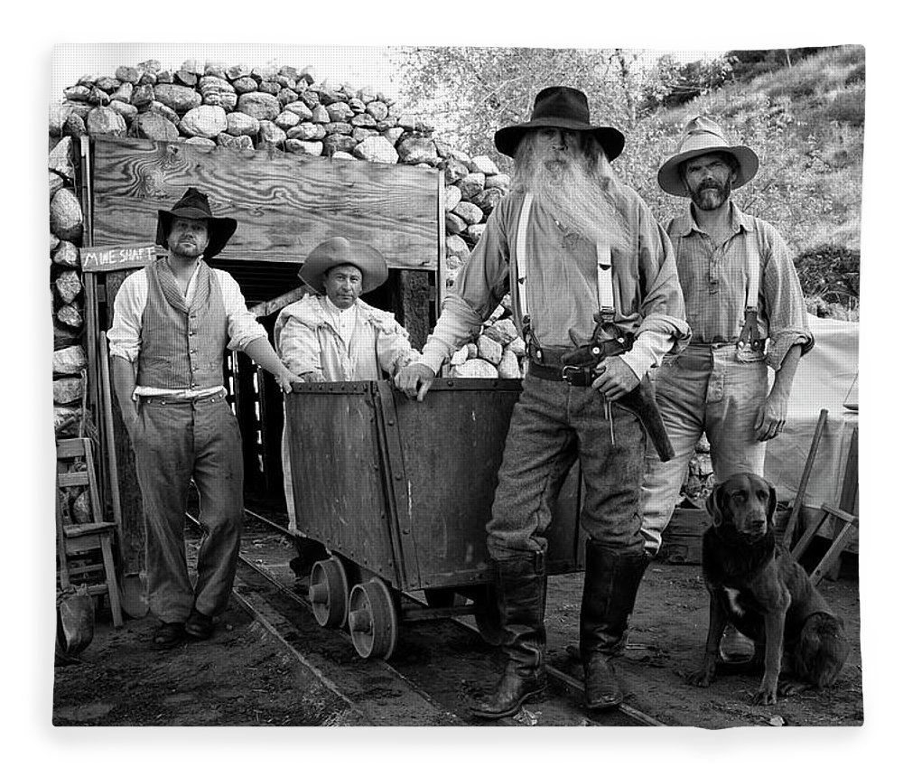 Pets Fleece Blanket featuring the photograph Gold Miners In Front Of A Mine Shaft by Jay P. Morgan