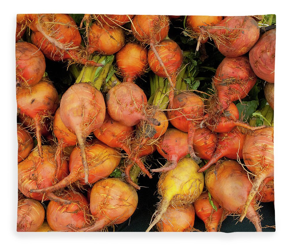 Orange Color Fleece Blanket featuring the photograph Golden Beets At A Farmers Market by Bill Boch