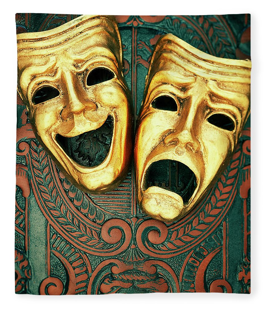 Leather Fleece Blanket featuring the photograph Golden Comedy And Tragedy Masks On by David Muir