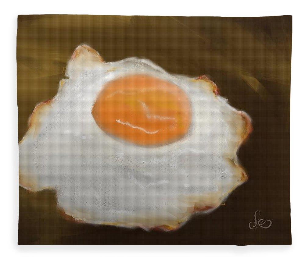 Eggs Fleece Blanket featuring the pastel Golden Fried Egg by Fe Jones