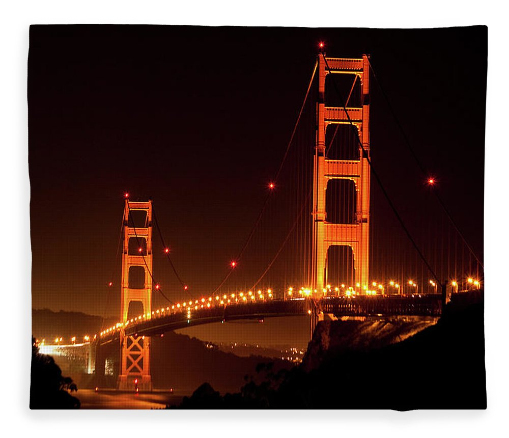 Scenics Fleece Blanket featuring the photograph Golden Gate Bridge At Night by Imaginegolf