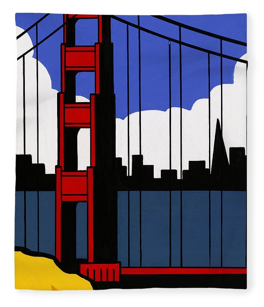 Gouache Fleece Blanket featuring the digital art Golden Gate Bridge, San Francisco by Matt Olson