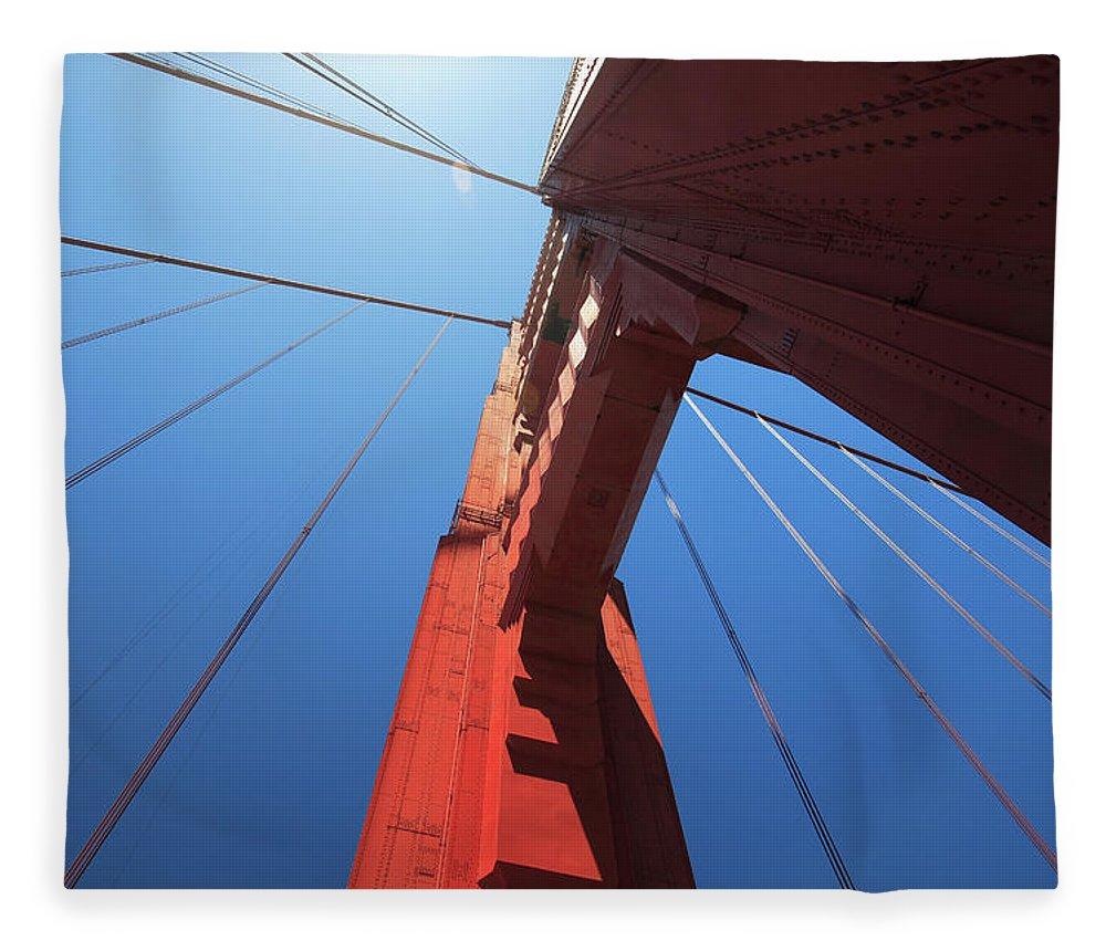 San Francisco Fleece Blanket featuring the photograph Golden Gate Bridge Tower by Mortonphotographic