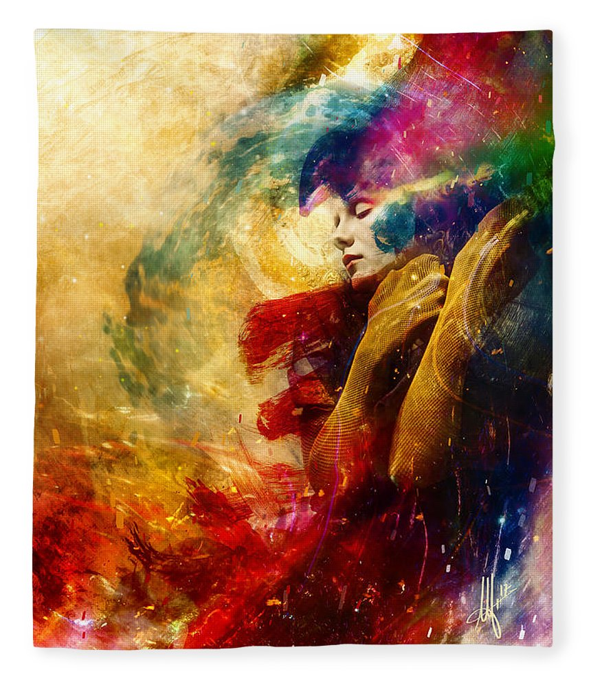 Surreal Fleece Blanket featuring the digital art Golden Gloom by Mario Sanchez Nevado