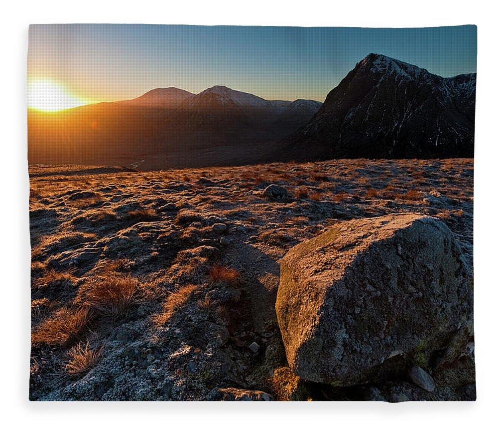 Rannoch Moor Fleece Blanket featuring the photograph Golden Highland Dawn Glencoe Mountain by Fotovoyager