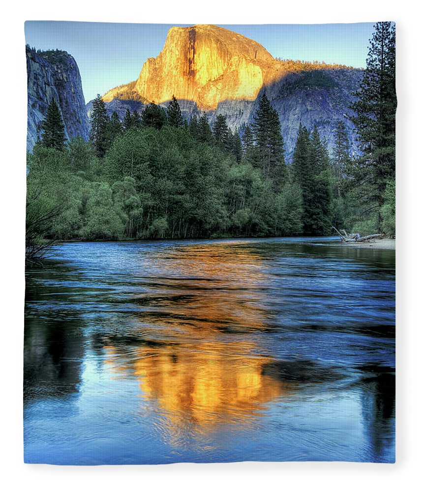 Scenics Fleece Blanket featuring the photograph Golden Light On Half Dome by Mimi Ditchie Photography