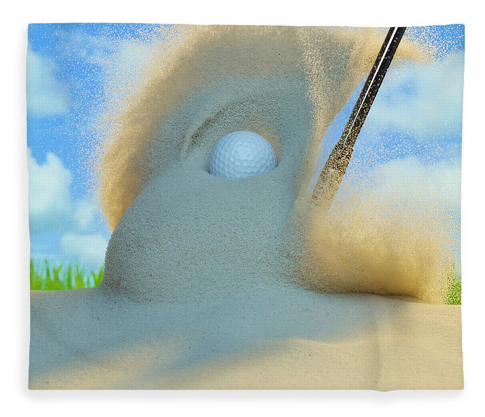 Drive Fleece Blanket featuring the photograph Golf Ball Being Driven Out Of A Sand by Don Farrall