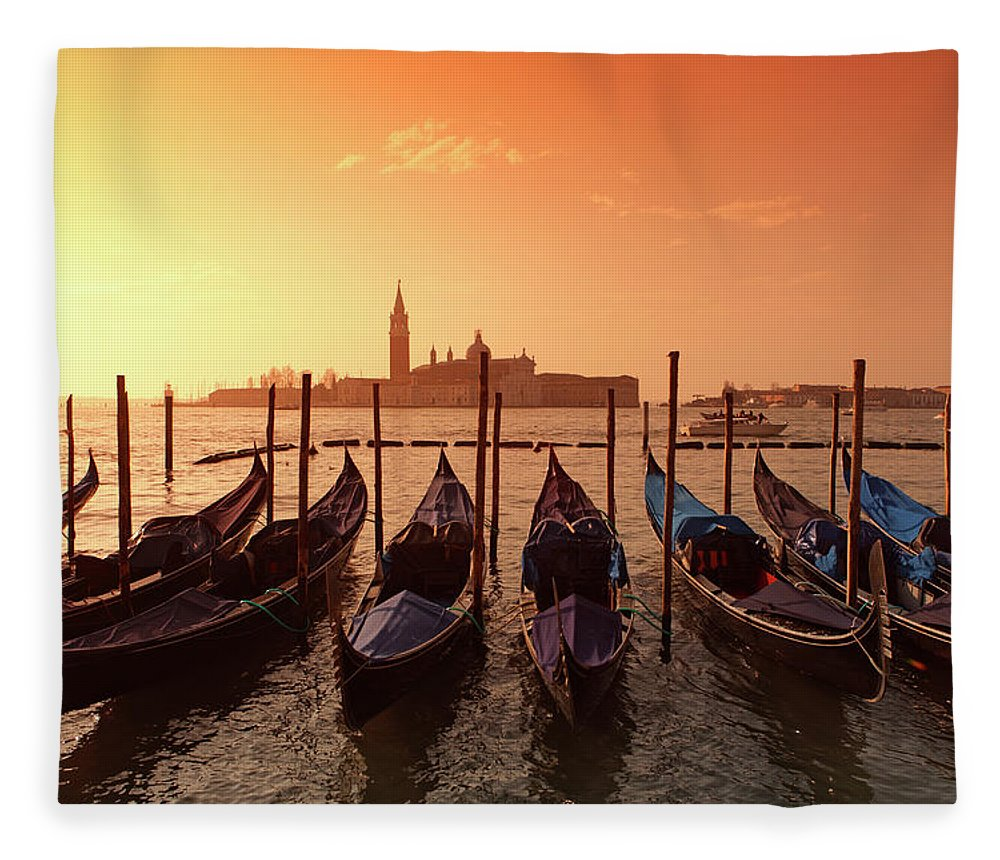 Scenics Fleece Blanket featuring the photograph Gondolas And Saint George Major In by Massimo Pizzotti