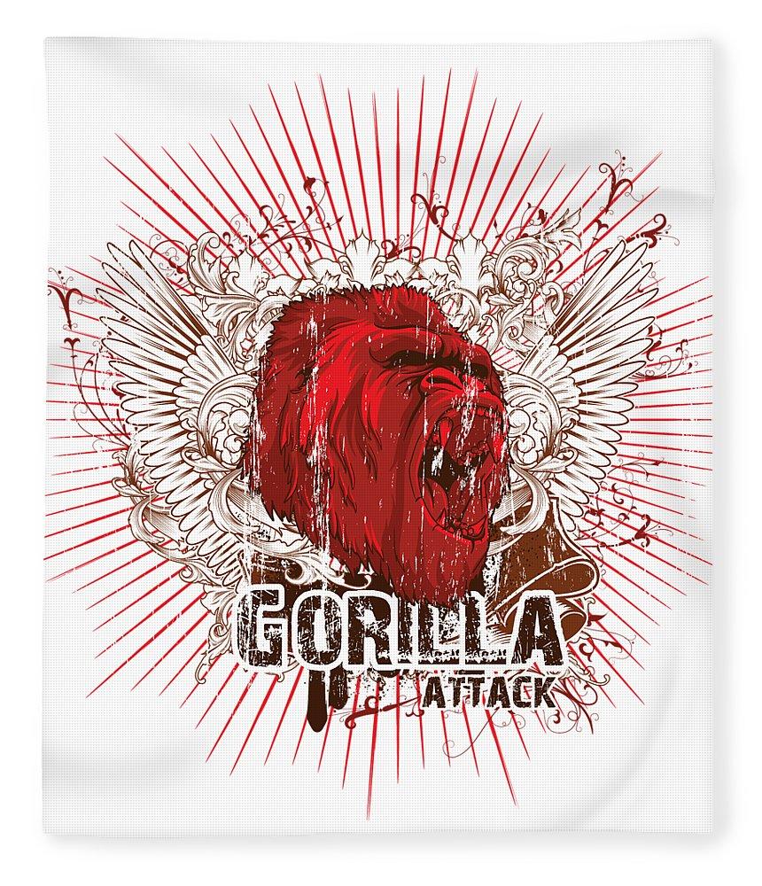 Animal Fleece Blanket featuring the digital art Gorilla Attack by Passion Loft