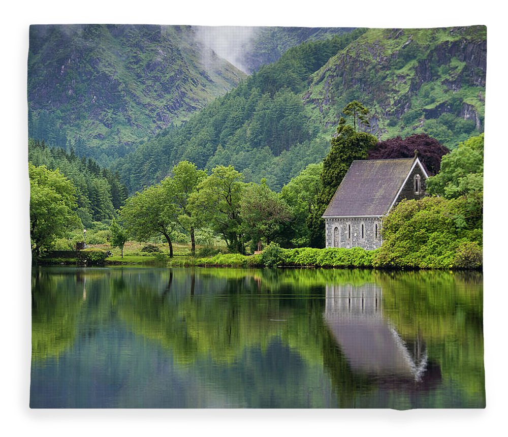 Tranquility Fleece Blanket featuring the photograph Gougane Barra Forest Park And Lake by Bradley L. Cox