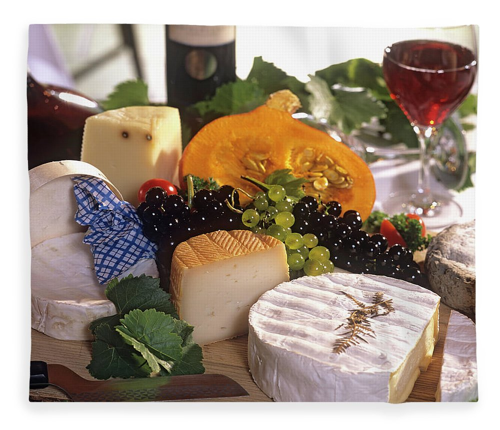 Cheese Fleece Blanket featuring the photograph Gourmet Cheese Plate With Red Wine by Clu