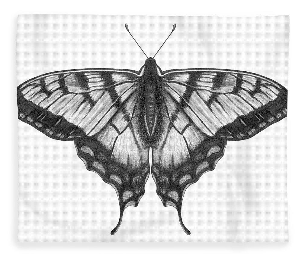 Art Fleece Blanket featuring the digital art Graphite Illustration Of A Beautiful by Ranplett