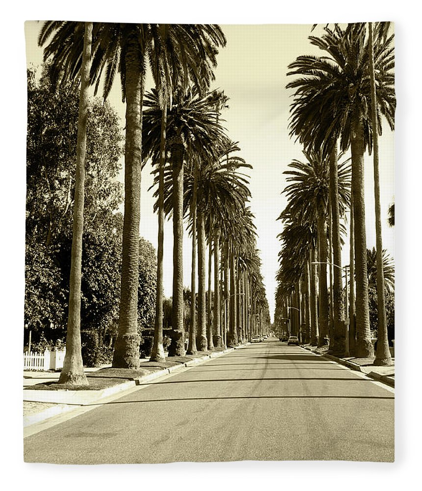 1950-1959 Fleece Blanket featuring the photograph Grayscale Image Of Beverly Hills by Marcomarchi