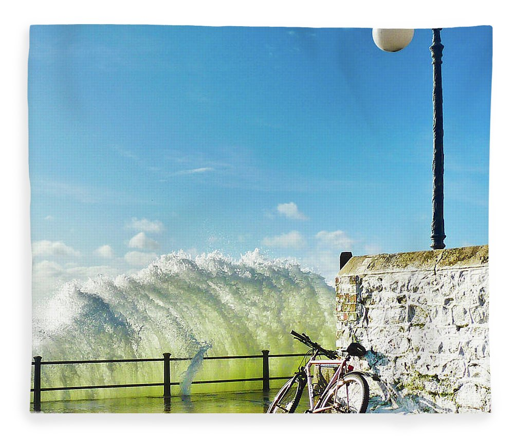 Leaning Fleece Blanket featuring the photograph Great Place To Leave Your Bike by Copyright Ian Pacey