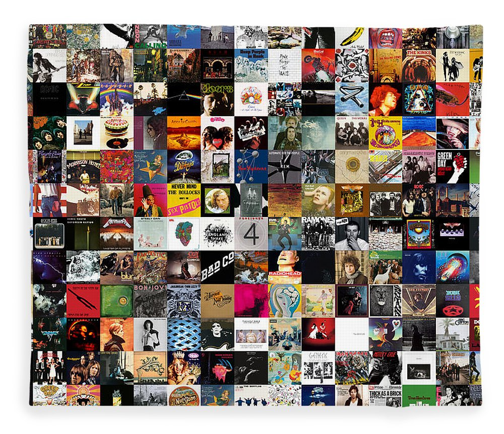 Album Covers Fleece Blanket featuring the digital art Greatest Rock Albums of All Time by Zapista OU