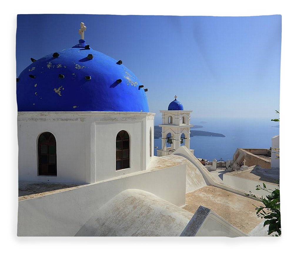 Greek Culture Fleece Blanket featuring the photograph Greek Church In Santorini by Iñigo Escalante